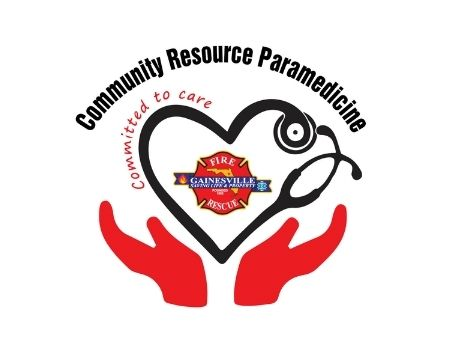Community Resource Parademics Committed to Care Gainesville Fire and Rescue logo